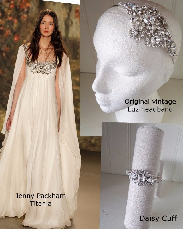 Jenny Packham titania with the Jo Barnes Luz original vintage headdress