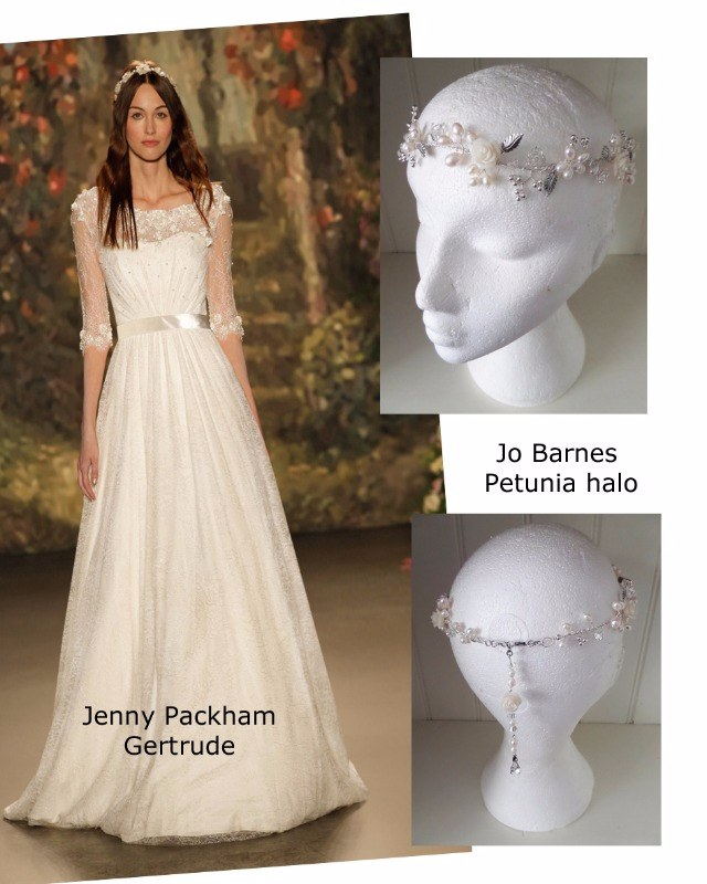 Jenny Packham Gertrude with the Jo Barnes Petunia halo