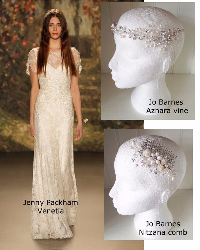 Jenny Packham venetia gown with Jo Barnes Azhara hair vine and Nitzana com