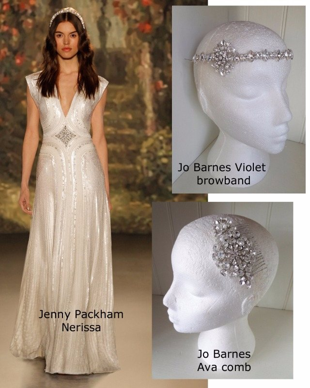 Jenny Packham Nerissa dress with Jo Barnes Violet browband