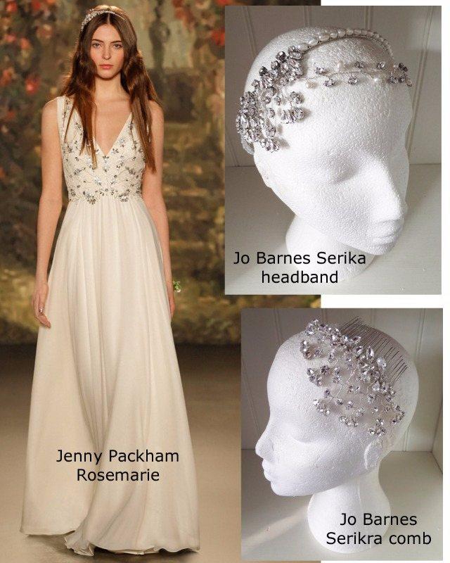 Jenny Packham Rosemarie with Jo Barnes Serika headband
