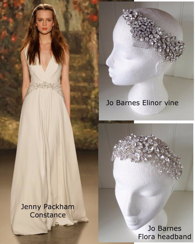 Jenny Packham Constance dress with Jo Barnes Elinor hair vine and Flora headband