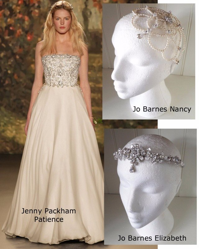Jenny Packham Patience with Jo Barnes Elizabeth forehead band and Nancy headdress