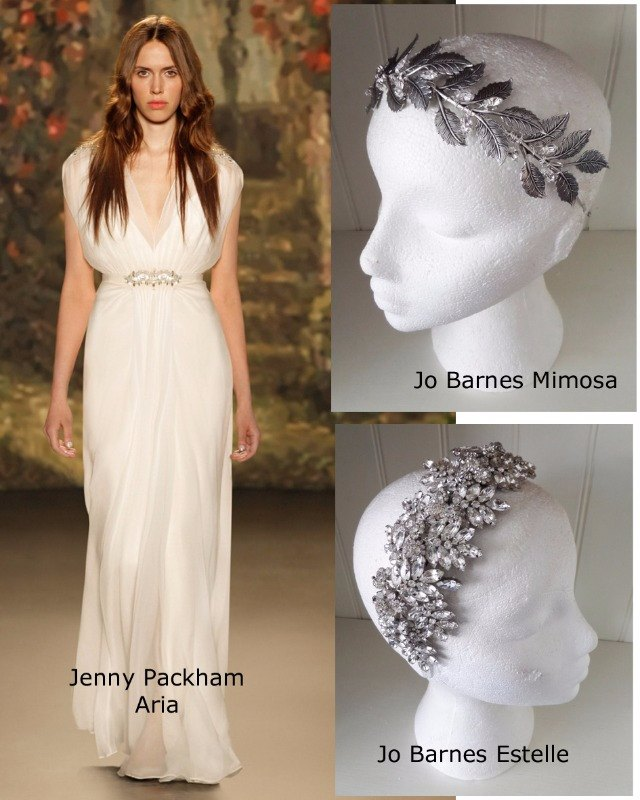 Jenny Packham Aria and Jo Barnes Mimosa and Estelle headband