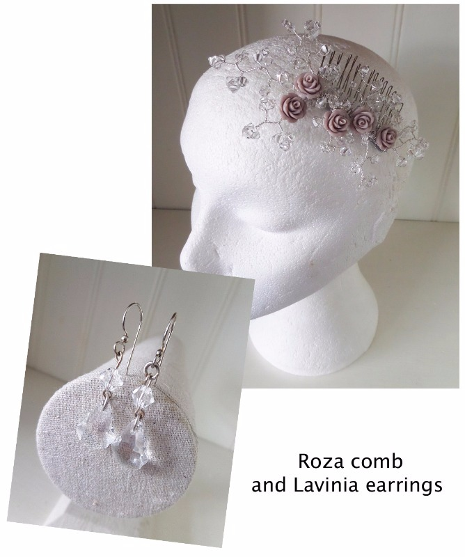Jo Barnes Roza comb and Lavinia earrings