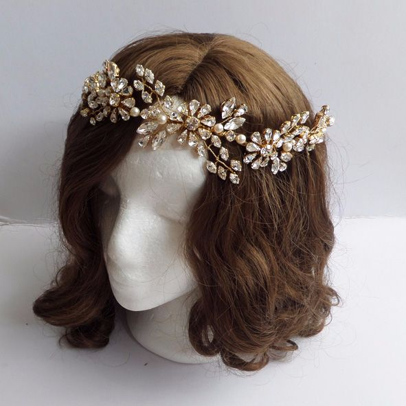 Iris Bridal Hair Vine (Gold plated)