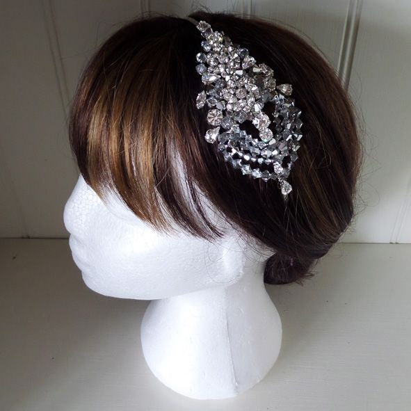 Exquisite Garbo honey crystal side headdress