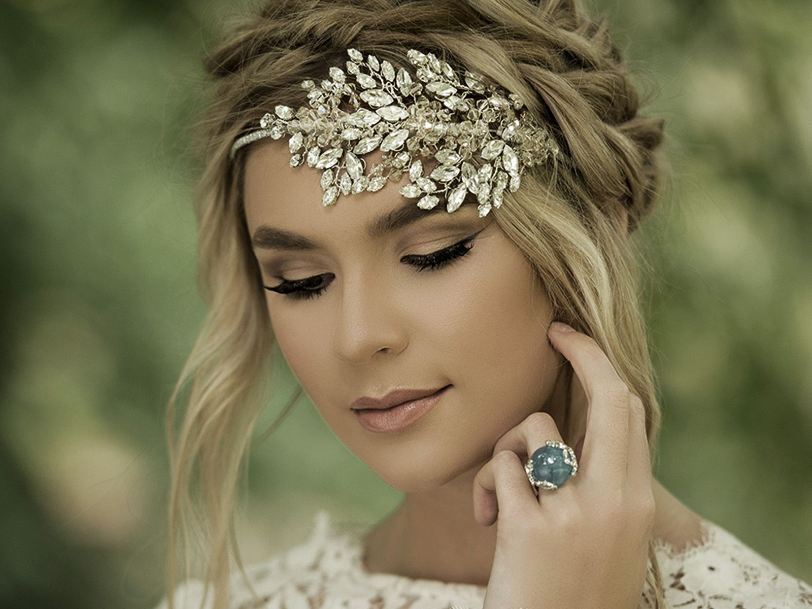 Exquisite honey crystal headpiece by Jo Barnes
