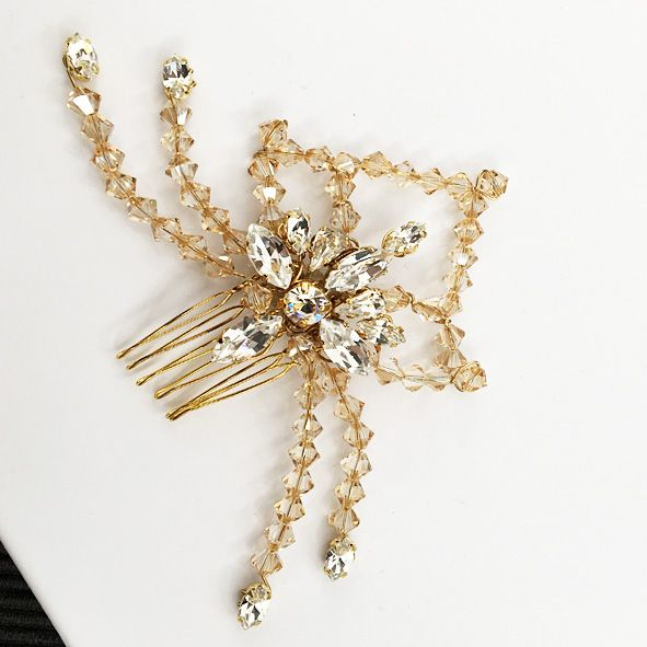 Callisto Gold Crystal Hair Comb