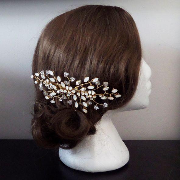 Jo Barnes Dorcia gold and opal wedding hair comb