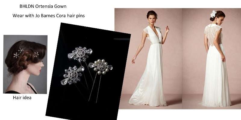 bhldn Ordensia gown with Jo Barnes cora pins