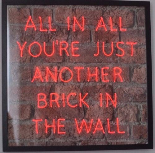 Pink Floyd Lyrics Red Neon Sign Brick Background