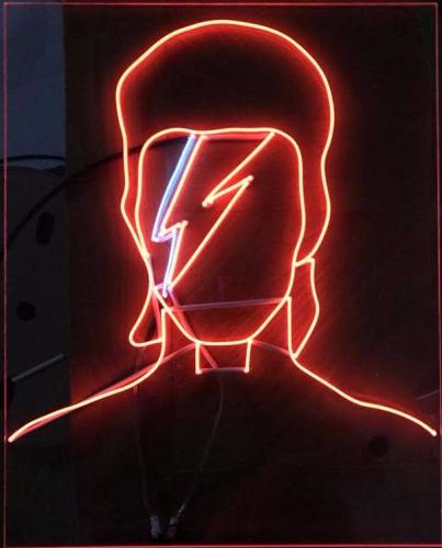 David Bowie Album Cover Neon Sign