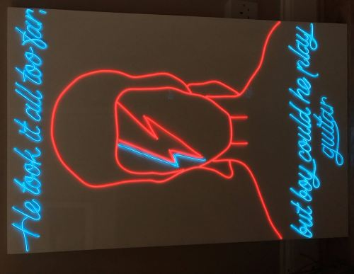 David Bowie Large White Acrylic Neon Sign