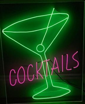 """COCKTAILS"" With Glass Pink And Lime Green Neon Sign 40x50cm"