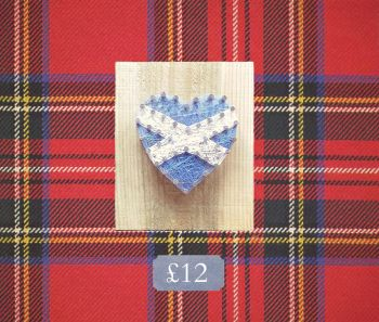 Wooden Heart Saltire Thread Wall Plaque