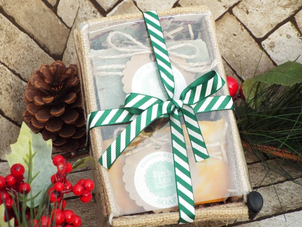 2 soap gift set with Christmas ribbon
