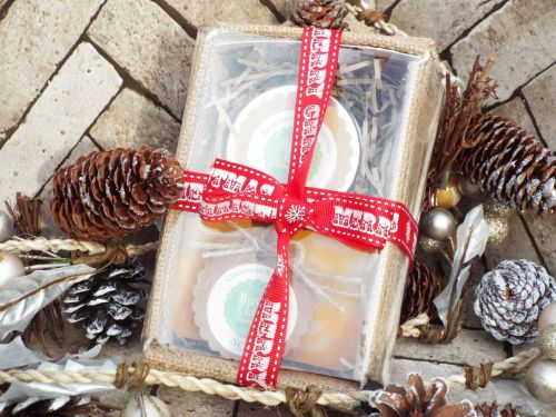 Soap and body butter gift set with Christmas ribbon