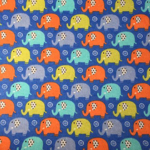 Michael Miller, Boy Flannel/Brushed Cotton, Mini Elephants Blue