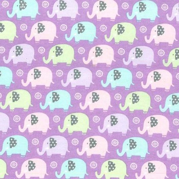Flannel/Brushed Cotton Mini Elephants Lilac Michael Miller Fabrics