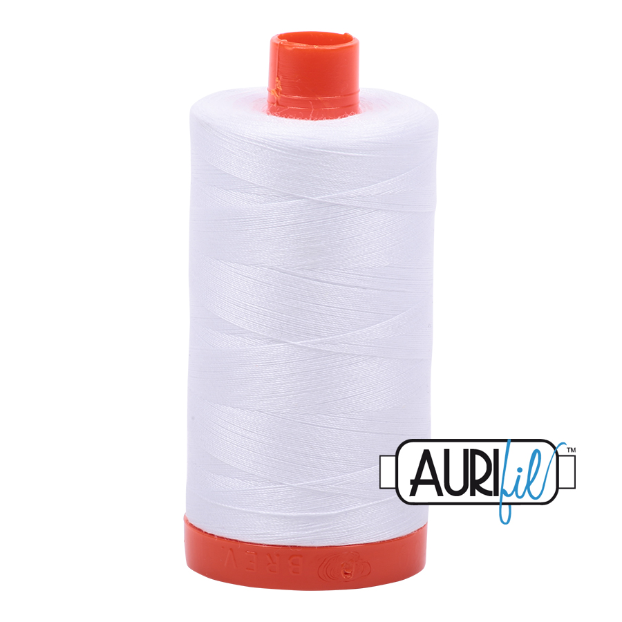Aurifil 50w cotton 1300 metre spool White