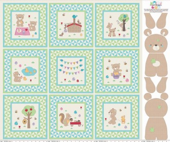 Teddy Bear Picnic Panel Green Riley Blake Designs