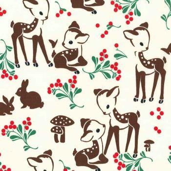 Studio Christmas Fawn Memories Cream Michael Miller Fabrics