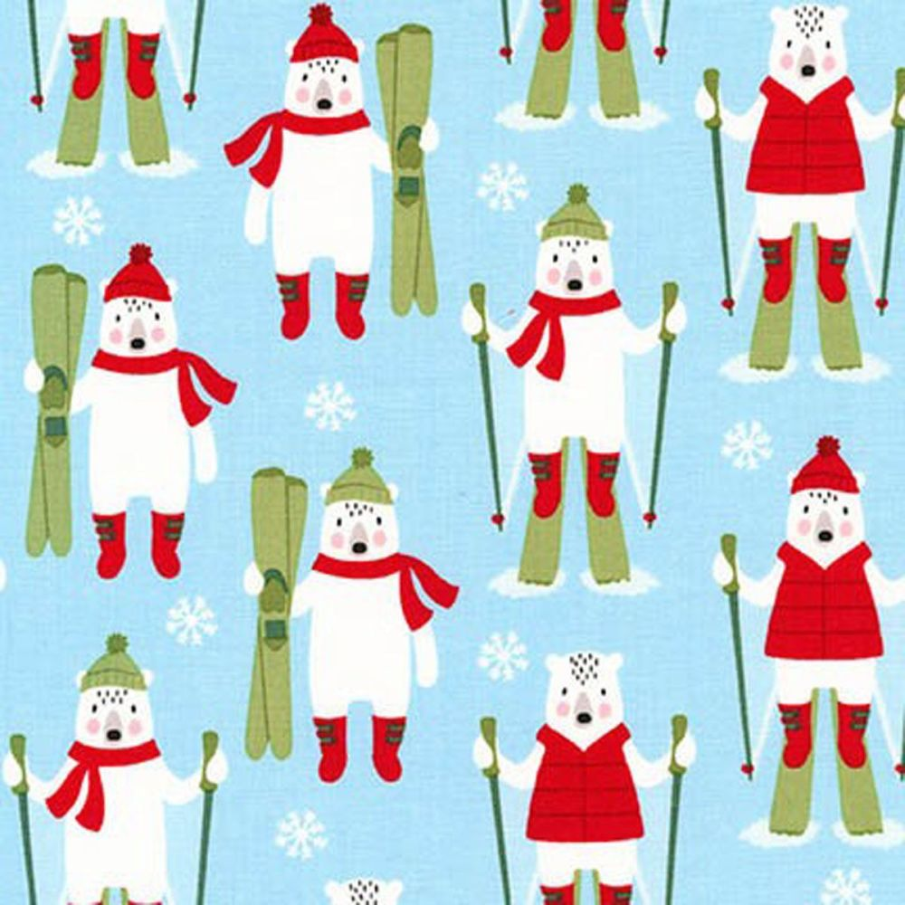 Frosty Friends Ski Bear Sky Blue Robert Kaufman