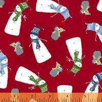 Santa's Little Helpers Snowman Red Windham Fabrics