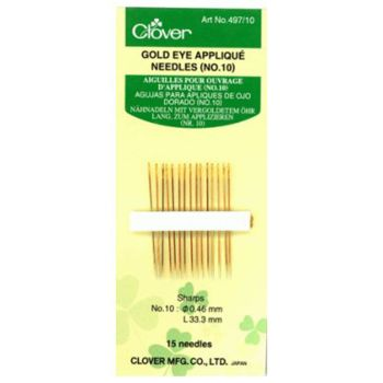 Clover Gold Eye Applique Needles No 10
