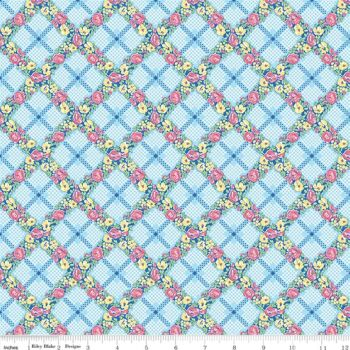 Mae Flowers by Penny Rose Fabrics Trellis in Blue