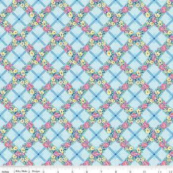 Mae Flowers by Penny Rose Fabrics Trellis in Blue