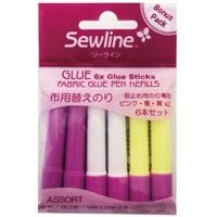 Sewline Water Soluble Glue Stick Multi Refill ~ 6 Refills Pink, Blue, Yellow