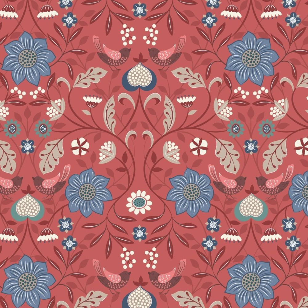 Michaelmas ~ Lewis and Irene  ~ Little Bird Floral ~ Soft Red
