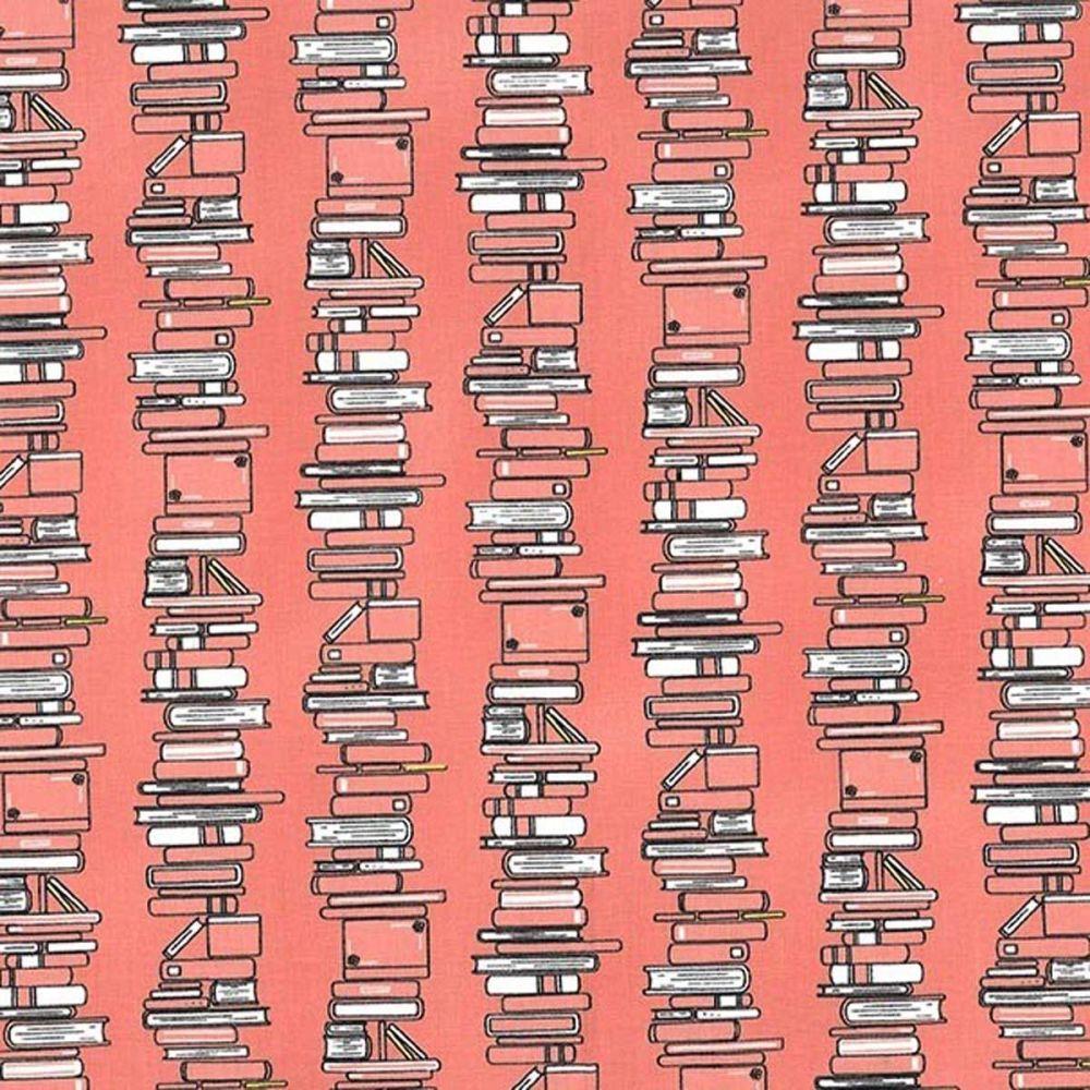 Curiosity ~ Michael Miller Fabrics ~ Book Stacks  ~ Coral
