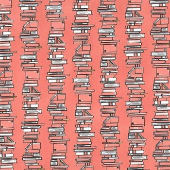Curiosity ~ Michael Miller Fabrics ~ Book Stacks  ~ Coral