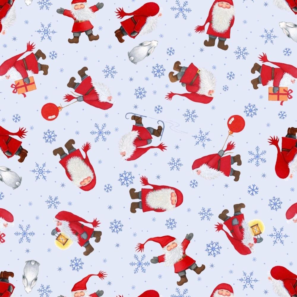 Tomten's Christmas ~ Lewis and Irene ~ Multi Tomten ~ Light Blue