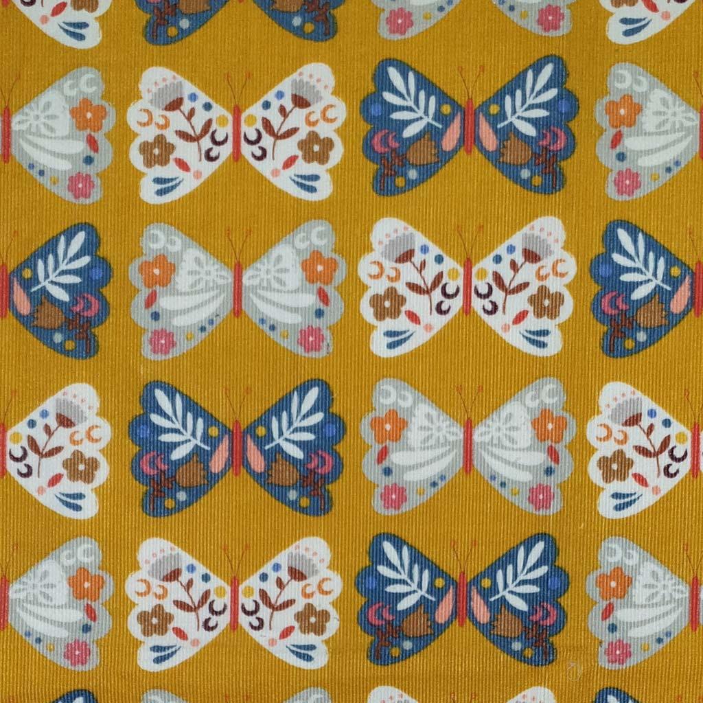 Meadow Safari Cord ~ Dashwood Studio ~ Butterfly ~ Gold ~ (150cm wide)