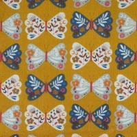Meadow Safari ~ Cord ~ Dashwood Studio ~ Butterfly ~ Gold ~ (150cm wide)