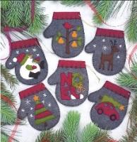 Charcoal Mittens Felt Kit ~ Makes 6 Ornaments ~ Rachel's of Greenfield