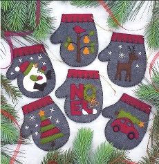 Charcoal Mittens Felt Kit ~ Makes 6 Ornaments ~ Rachel's of Greenfield