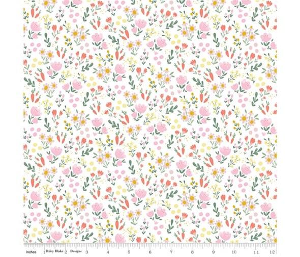 Easter Egg Hunt ~ Riley Blake Designs ~ Floral ~ White