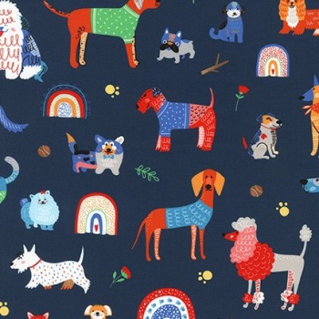 Whiskers and Tails ~ Robert Kaufman ~ Dogs ~ Navy