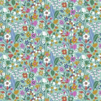 Kaleidoscope Ace  ~ Cotton Lawn ~  Dashwood Studio ~ Wild Flowers on Teal