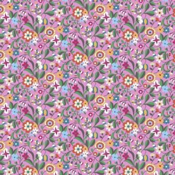Kaleidoscope Ace  ~ Cotton Lawn ~  Dashwood Studio ~ Cottage Garden Flowers on Light Pink