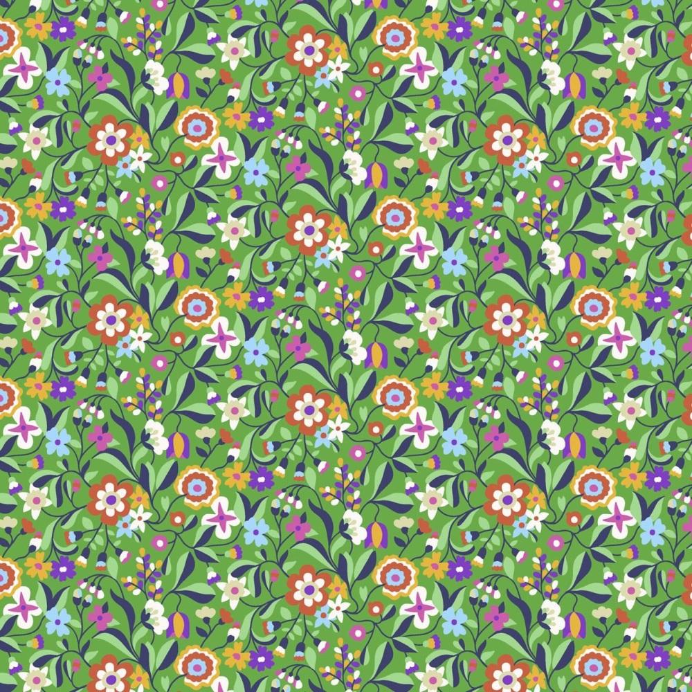 Kaleidoscope Ace  ~ Cotton Lawn ~  Dashwood Studio ~ Cottage Garden Flowers