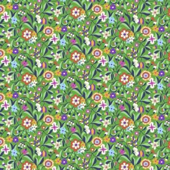 Kaleidoscope Ace  ~ Cotton Lawn ~  Dashwood Studio ~ Cottage Garden Flowers on Green