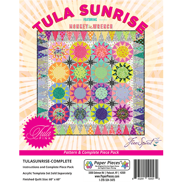 Tula Pink ~ Tula Sunrise Pattern and Complete Paper Piece Pack (Acrylic Tem