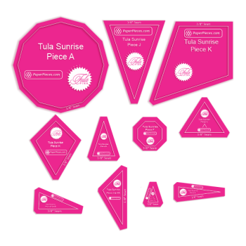 "Tula Pink ~ Tula Sunrise 11 Piece Acrylic Template Set with 3/8"" Seam Allowance"