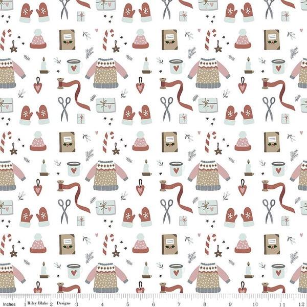 Warm Wishes ~ Riley Blake Designs ~ Winter Wear  ~ White